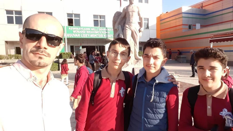 Teacher with students in Azerbaijan