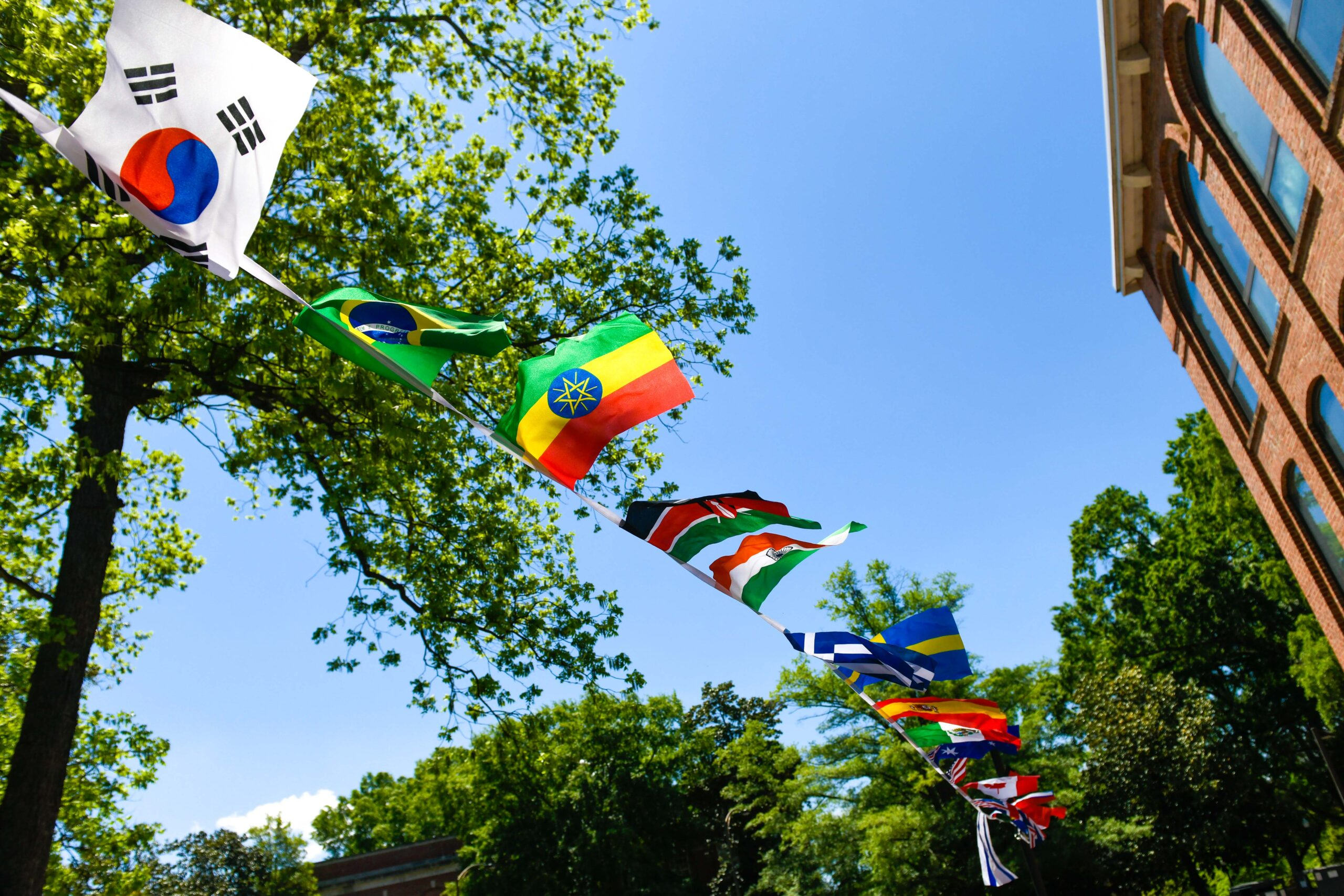 Flags on display in the Global Courtyard.
