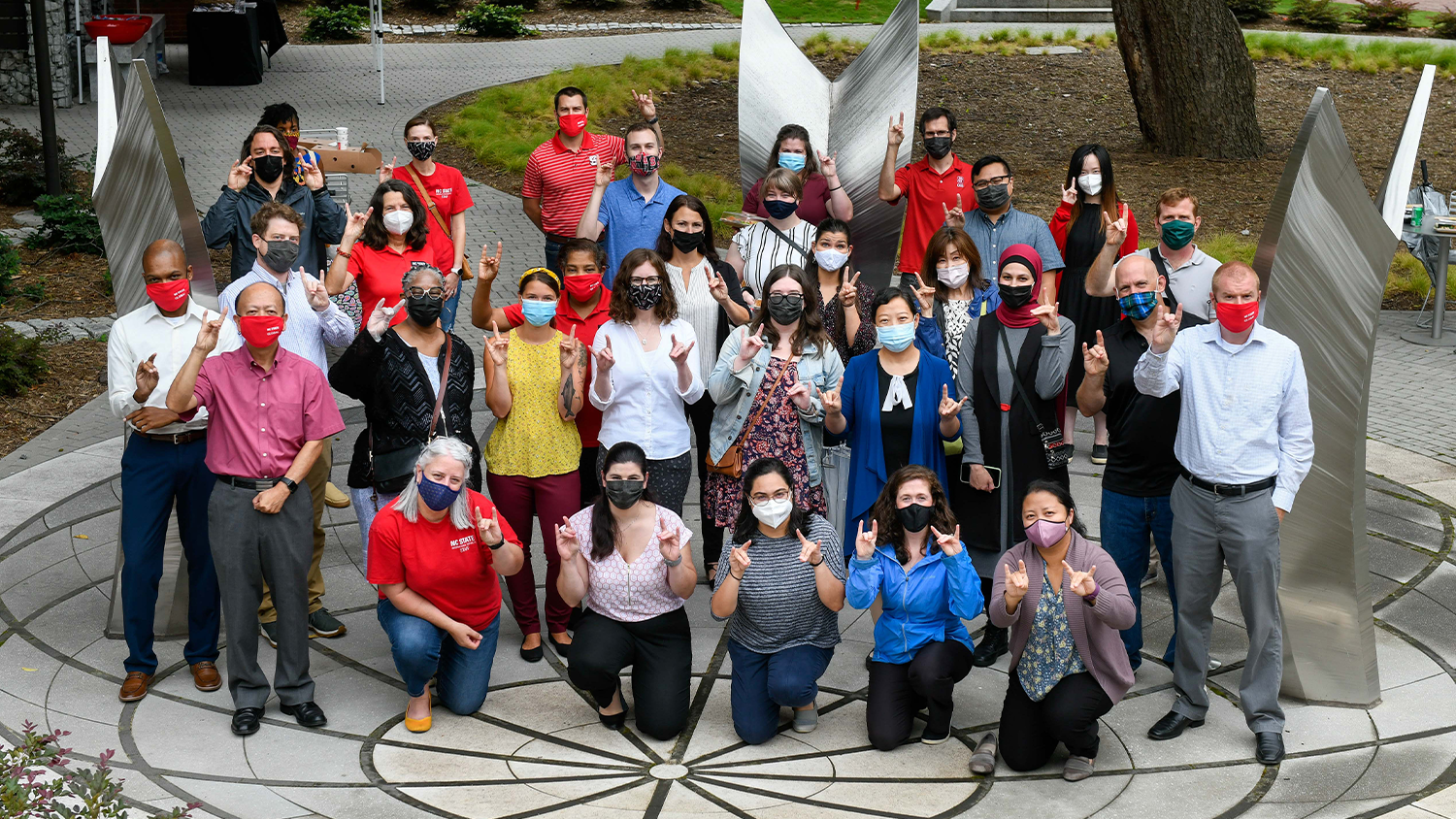 Group Photo of OGE staff with masks on