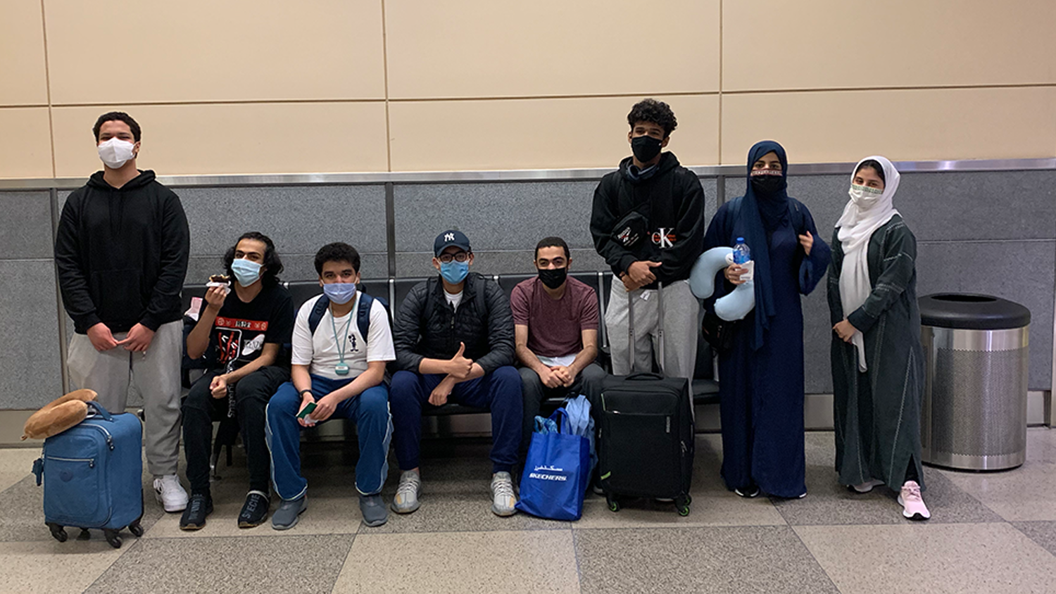 A group of Saudi Arabian high school students at the airport at RDU in Raleigh, NC.