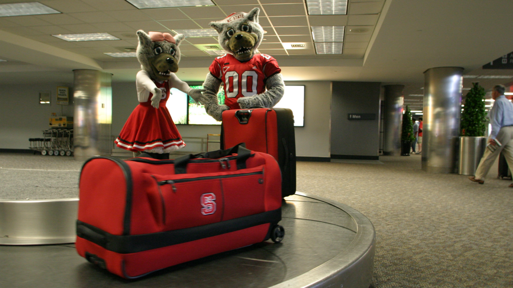 Mr and Mrs Wuf at the airport with luggage