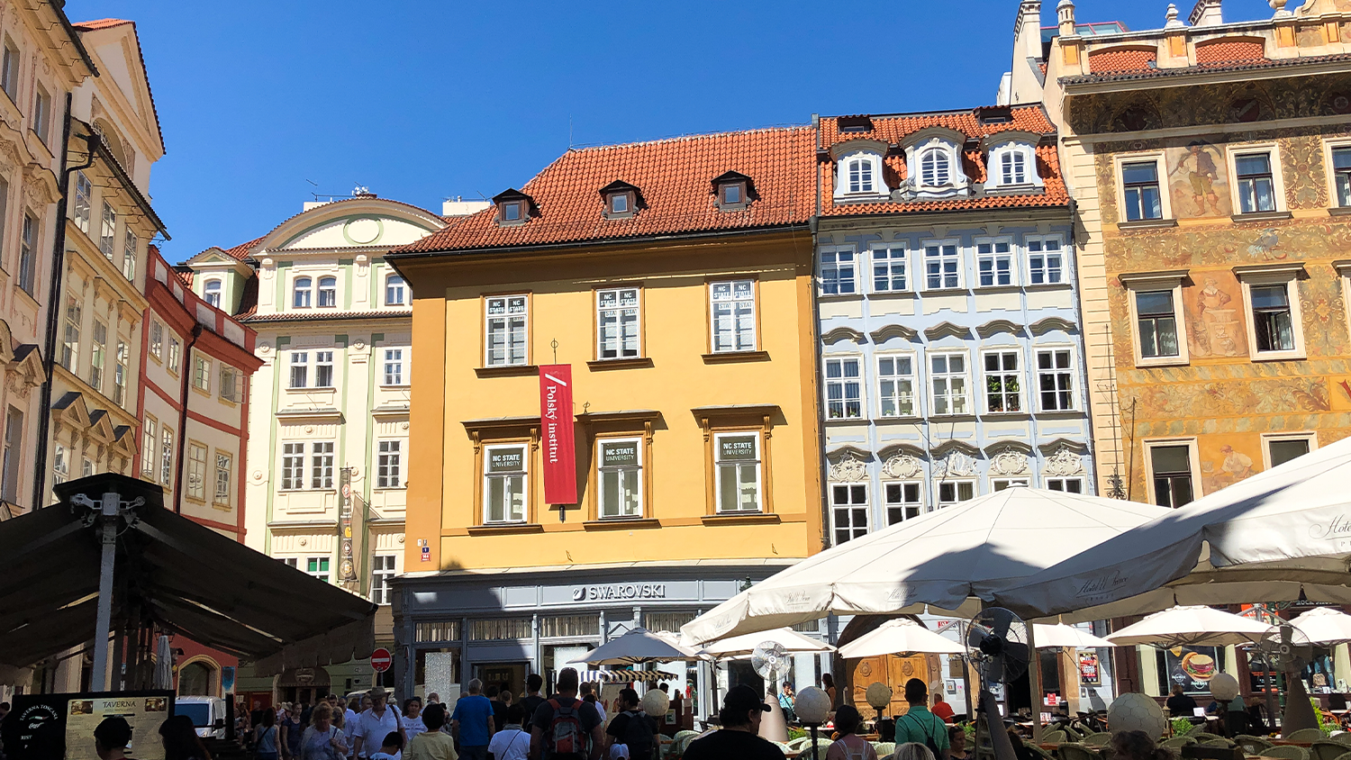 Picture of the outside of the building of the NCState European Center in Prague.