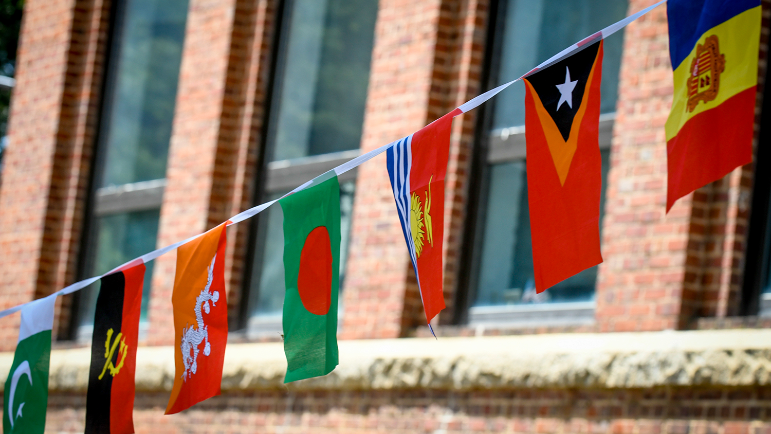 Flags are hanging between Thompkins Hall and Primrose Hall.