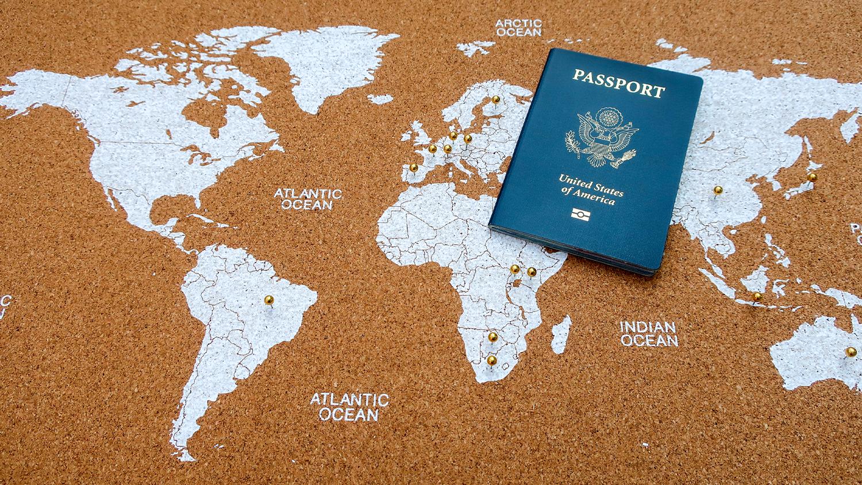 US Passport on a world map